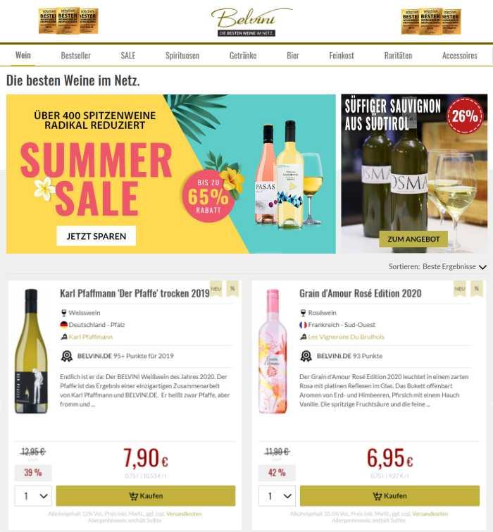 Belvini Online Weinhandel