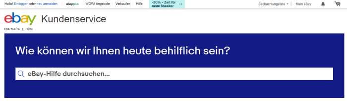 eBay Kontaktmöglichkeit