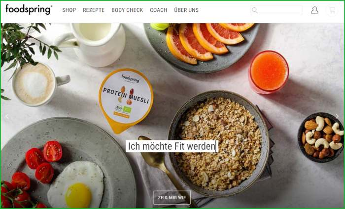 foodspring Webseite Screenshot